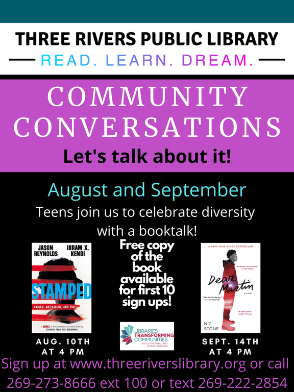 Call 269-273-8666 extension 100 to sign up for teen community conversations.