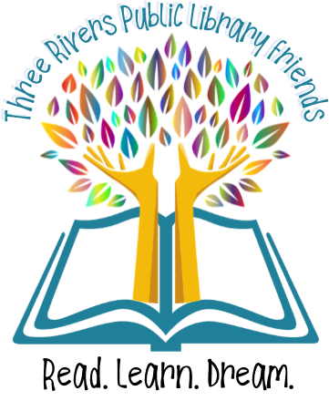 Hands reaching up from a book with leaves on top. Friends' group logo.