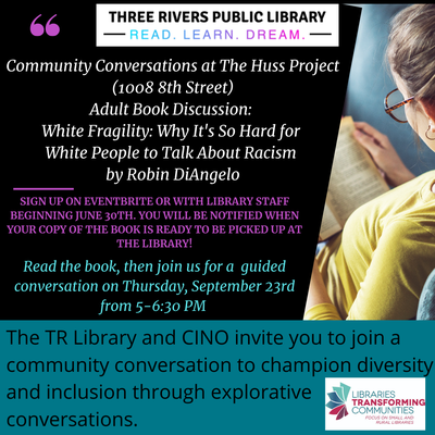 """Community Conversations: Adult Book Discussion - """"White Fragility"""" by Robin DiAngelo"""